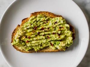 A toast with an avocado