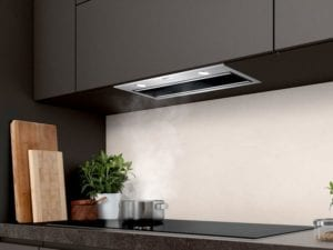 Integrated cooker hood for kitchens