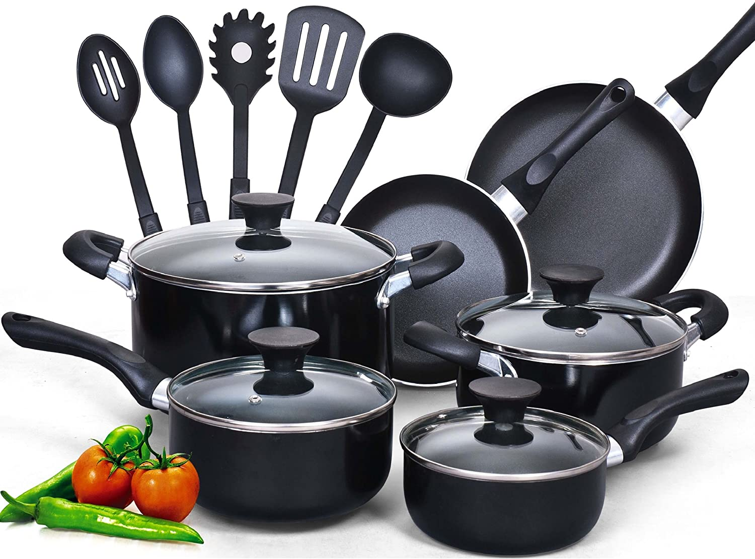 Cook N Home 15-Piece Nonstick Stay Cool Handle Cookware Set